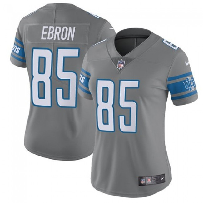 Women's Lions #85 Eric Ebron Gray Stitched NFL Limited Rush Jersey