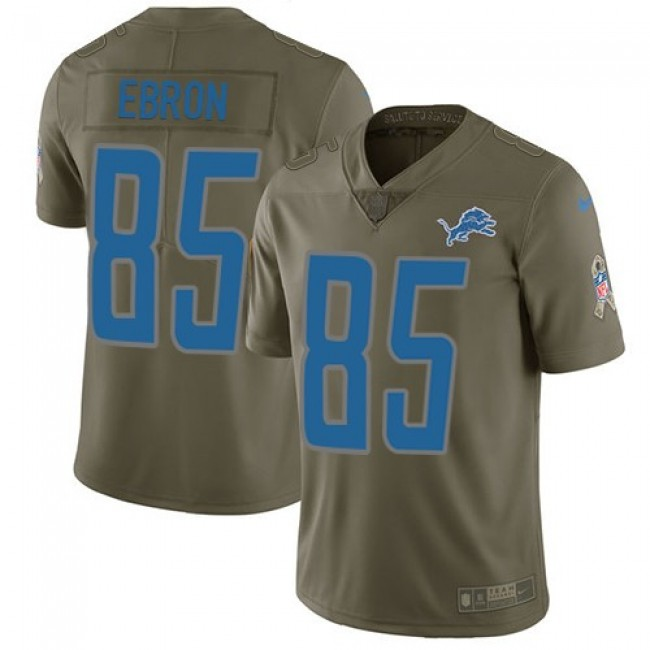 Detroit Lions #85 Eric Ebron Olive Youth Stitched NFL Limited 2017 Salute to Service Jersey