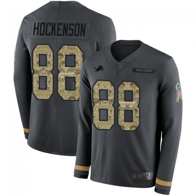 Nike Lions #88 T.J. Hockenson Anthracite Salute to Service Men's Stitched NFL Limited Therma Long Sleeve Jersey