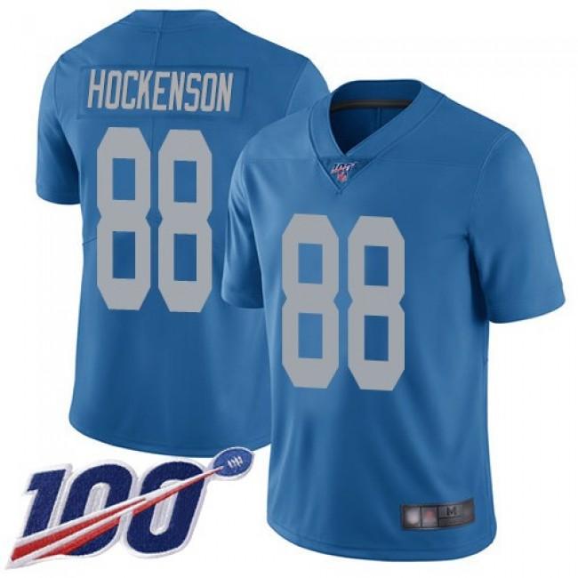 Nike Lions #88 T.J. Hockenson Blue Throwback Men's Stitched NFL 100th Season Vapor Limited Jersey