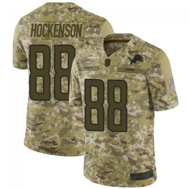 Nike Lions #88 T.J. Hockenson Camo Men's Stitched NFL Limited 2018 Salute To Service Jersey