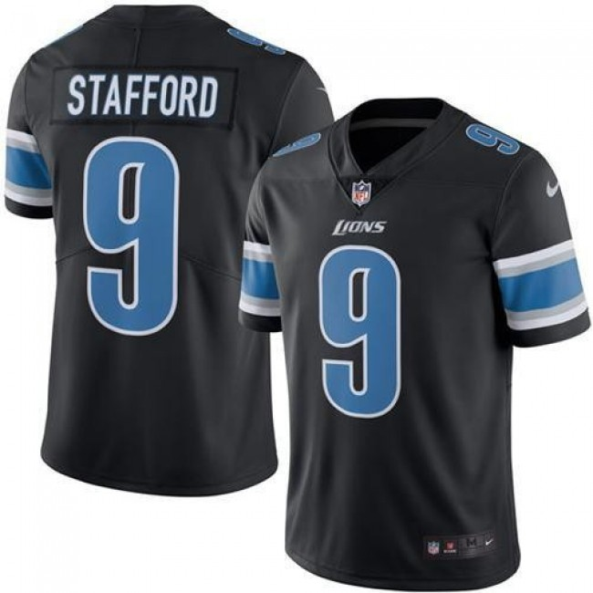 Detroit Lions #9 Matthew Stafford Black Youth Stitched NFL Limited Rush Jersey