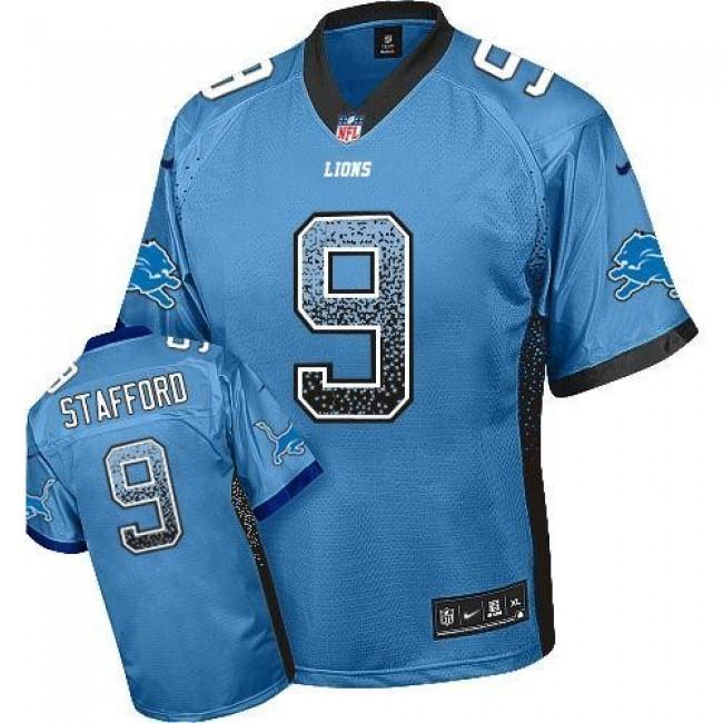 Nike Lions #9 Matthew Stafford Blue Team Color Men's Stitched NFL Elite Drift Fashion Jersey