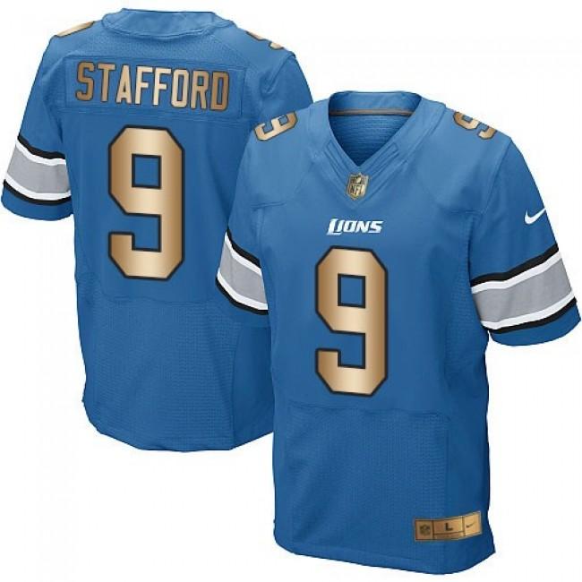 Nike Lions #9 Matthew Stafford Blue Team Color Men's Stitched NFL Elite Gold Jersey
