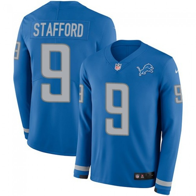 Nike Lions #9 Matthew Stafford Blue Team Color Men's Stitched NFL Limited Therma Long Sleeve Jersey