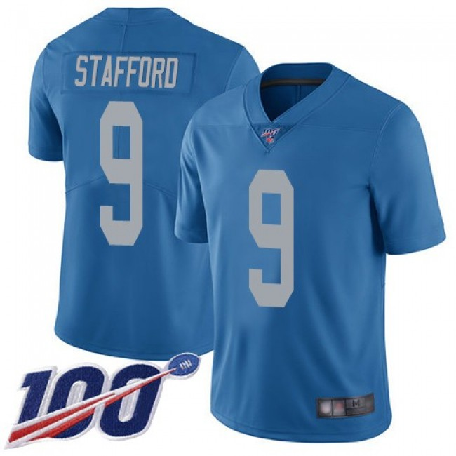 Nike Lions #9 Matthew Stafford Blue Throwback Men's Stitched NFL 100th Season Vapor Limited Jersey