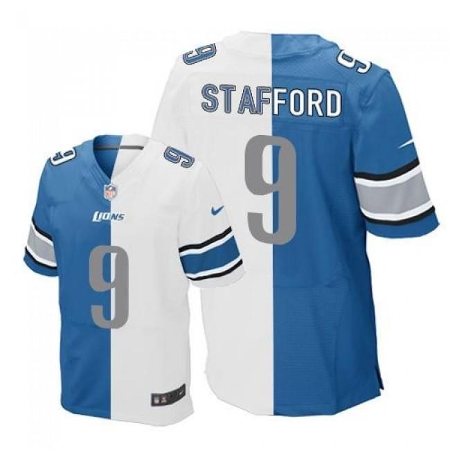 Nike Lions #9 Matthew Stafford Blue/White Men's Stitched NFL Elite Split Jersey