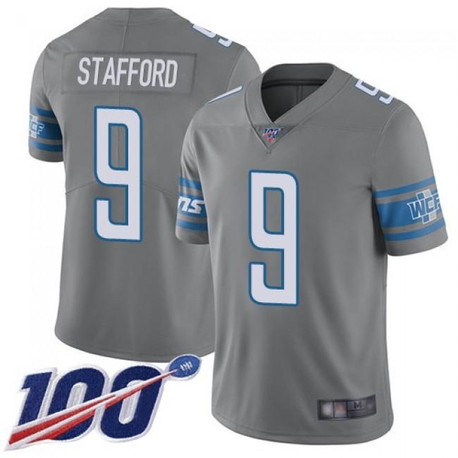 Nike Lions #9 Matthew Stafford Gray Men's Stitched NFL Limited Rush 100th Season Jersey