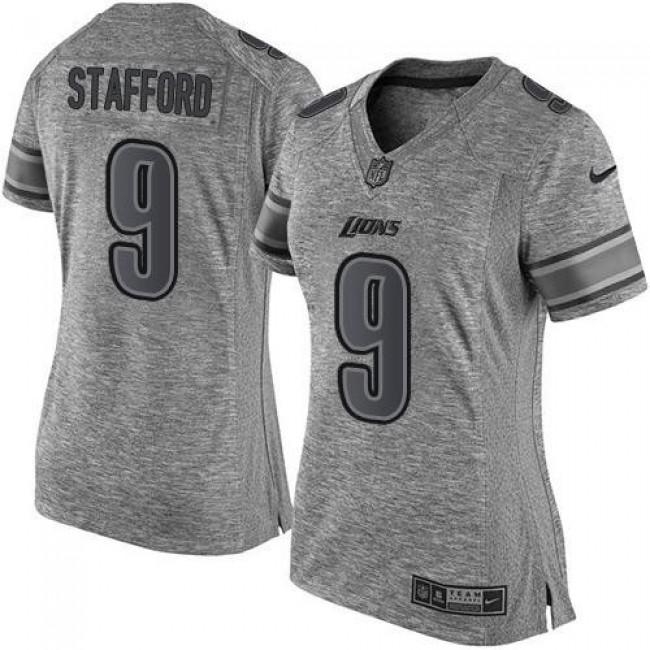 Women's Lions #9 Matthew Stafford Gray Stitched NFL Limited Gridiron Gray Jersey