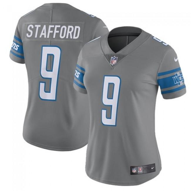 Women's Lions #9 Matthew Stafford Gray Stitched NFL Limited Rush Jersey