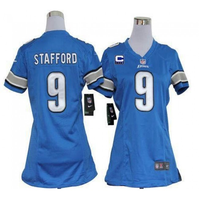 Women's Lions #9 Matthew Stafford Light Blue Team Color With C Patch Stitched NFL Elite Jersey
