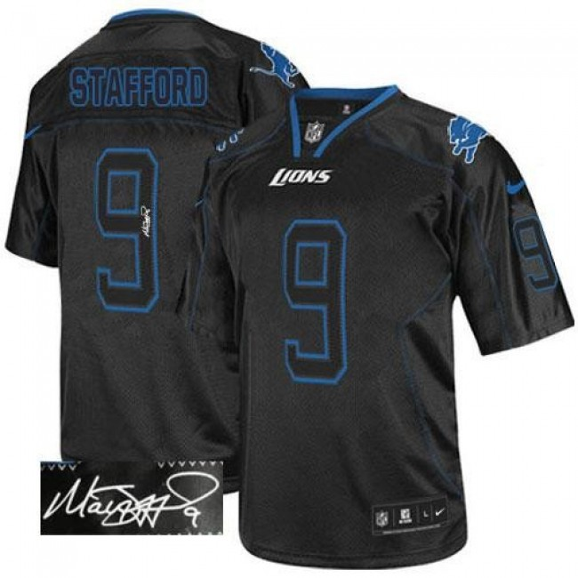 Nike Lions #9 Matthew Stafford Lights Out Black Men's Stitched NFL Elite Autographed Jersey