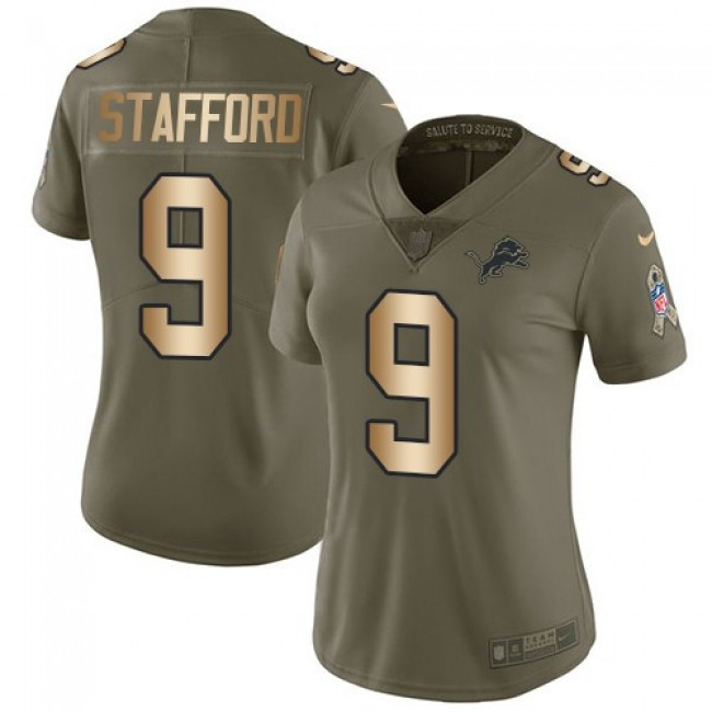 Women's Lions #9 Matthew Stafford Olive Gold Stitched NFL Limited 2017 Salute to Service Jersey