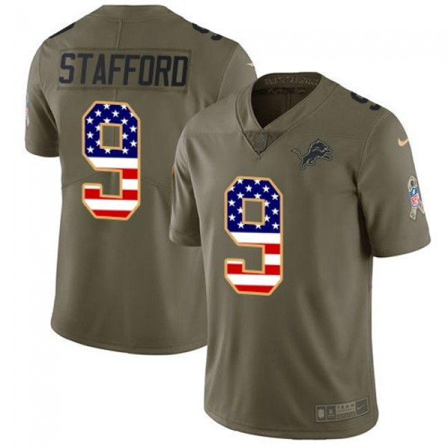 Nike Lions #9 Matthew Stafford Olive/USA Flag Men's Stitched NFL Limited 2017 Salute To Service Jersey