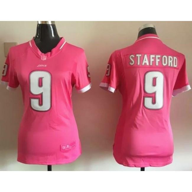 Women's Lions #9 Matthew Stafford Pink Stitched NFL Elite Bubble Gum Jersey