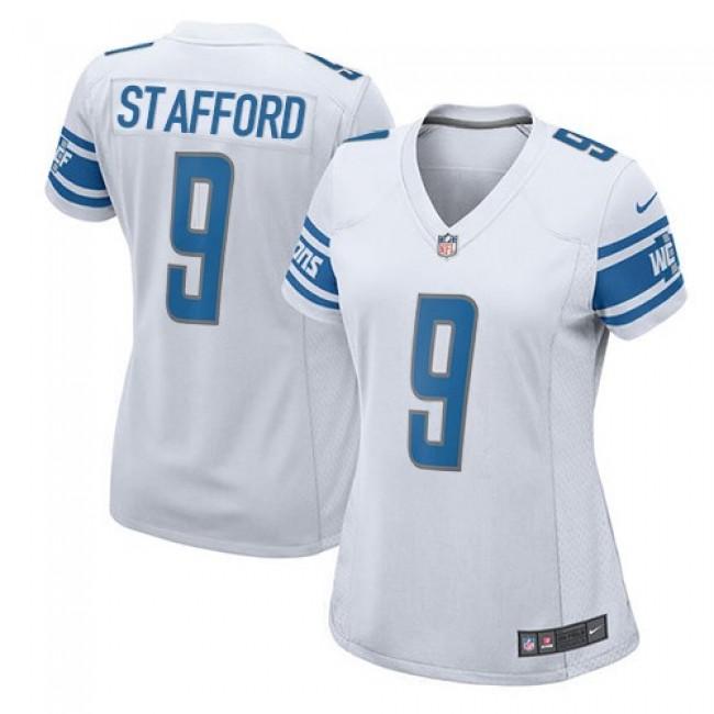 Women's Lions #9 Matthew Stafford White Stitched NFL Elite Jersey