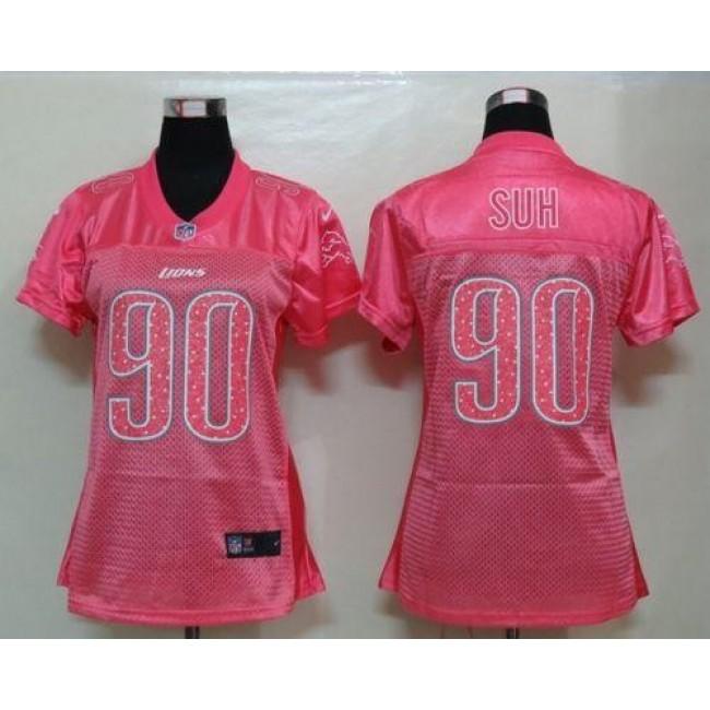 Women's Lions #90 Ndamukong Suh Pink Sweetheart NFL Game Jersey