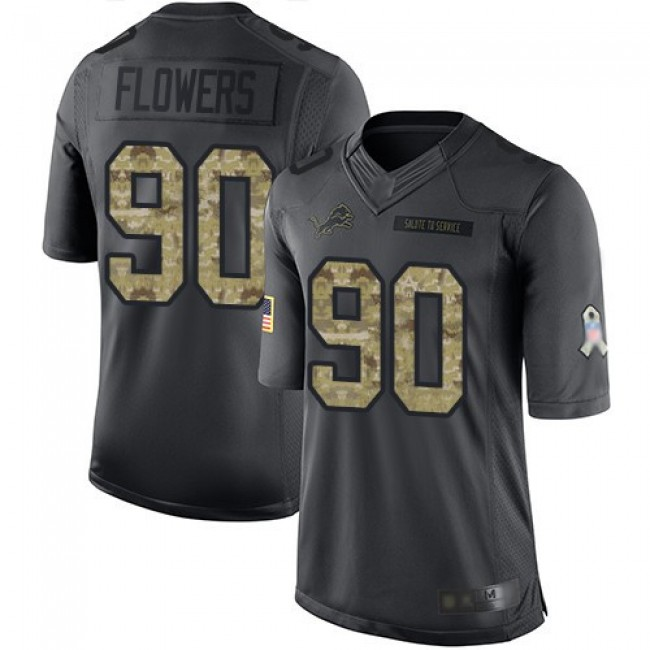 Nike Lions #90 Trey Flowers Black Men's Stitched NFL Limited 2016 Salute To Service Jersey
