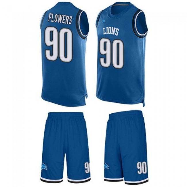 Nike Lions #90 Trey Flowers Blue Team Color Men's Stitched NFL Limited Tank Top Suit Jersey