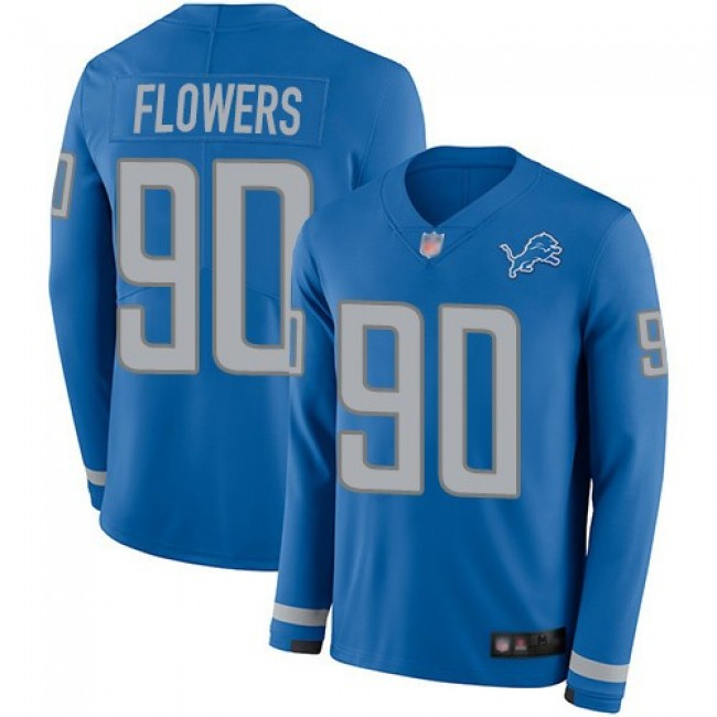 Nike Lions #90 Trey Flowers Blue Team Color Men's Stitched NFL Limited Therma Long Sleeve Jersey
