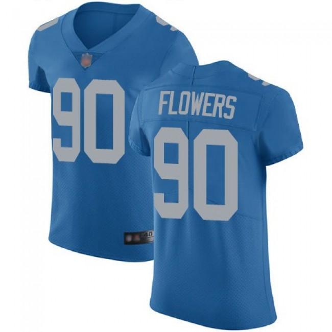 Nike Lions #90 Trey Flowers Blue Throwback Men's Stitched NFL Vapor Untouchable Elite Jersey