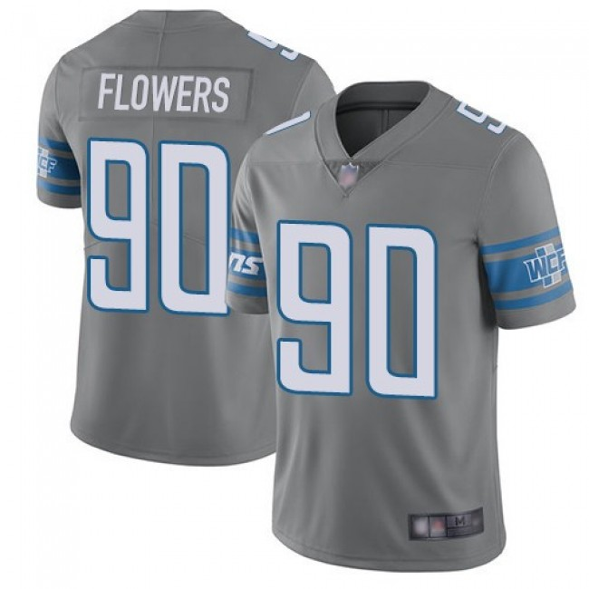Nike Lions #90 Trey Flowers Gray Men's Stitched NFL Limited Rush Jersey