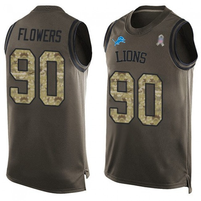 Nike Lions #90 Trey Flowers Green Men's Stitched NFL Limited Salute To Service Tank Top Jersey
