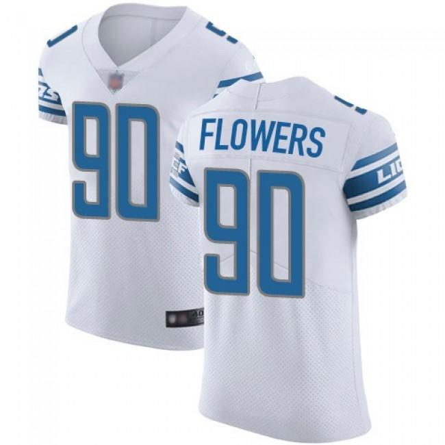 Nike Lions #90 Trey Flowers White Men's Stitched NFL Vapor Untouchable Elite Jersey