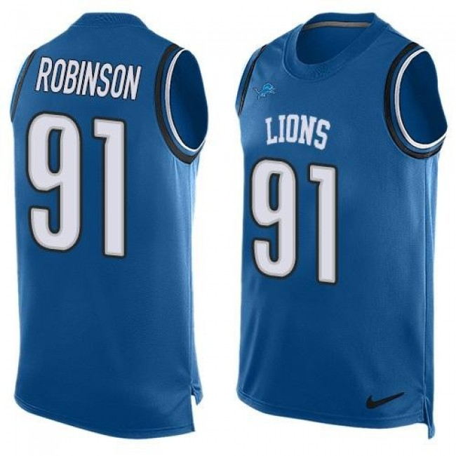 Nike Lions #91 A'Shawn Robinson Blue Team Color Men's Stitched NFL Limited Tank Top Jersey