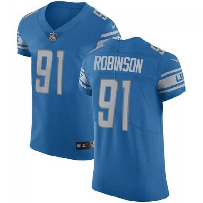 Nike Lions #91 A'Shawn Robinson Blue Team Color Men's Stitched NFL Vapor Untouchable Elite Jersey