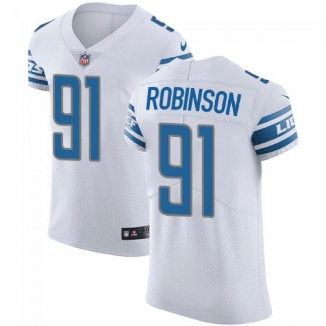 Nike Lions #91 A'Shawn Robinson White Men's Stitched NFL Vapor Untouchable Elite Jersey