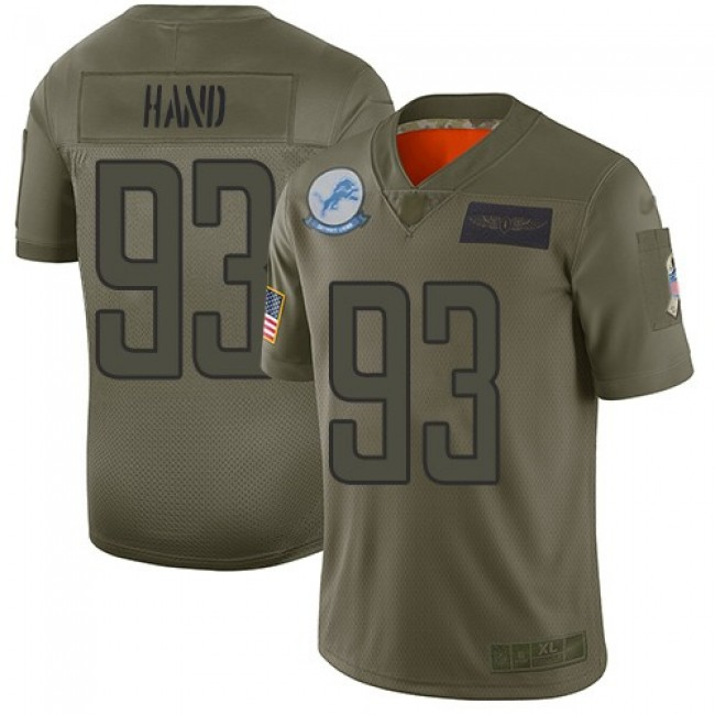 Nike Lions #93 Da'Shawn Hand Camo Men's Stitched NFL Limited 2019 Salute To Service Jersey