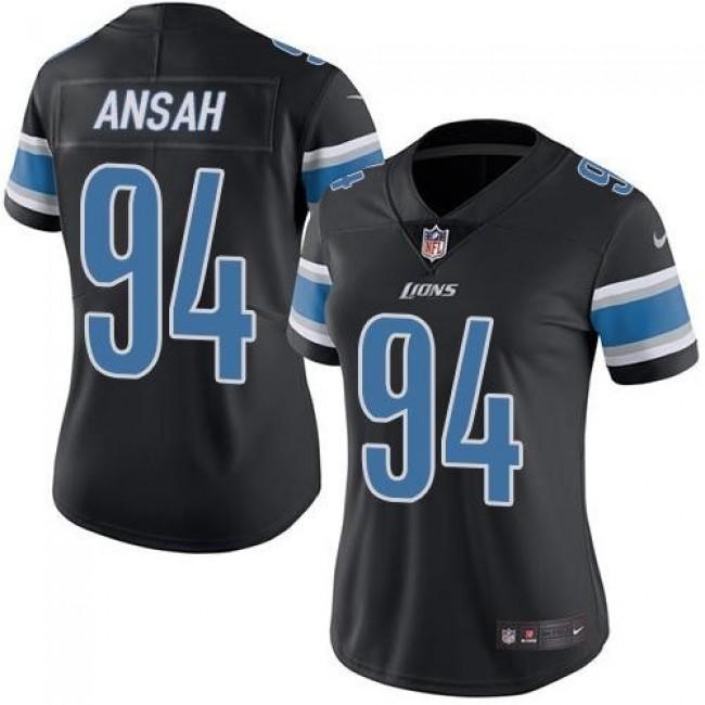 Women's Lions #94 Ziggy Ansah Black Stitched NFL Limited Rush Jersey