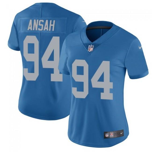 Women's Lions #94 Ziggy Ansah Blue Throwback Stitched NFL Vapor Untouchable Limited Jersey