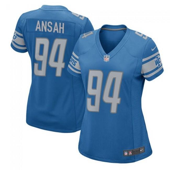 Women's Lions #94 Ziggy Ansah Light Blue Team Color Stitched NFL Elite Jersey