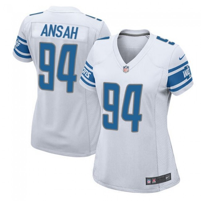 Women's Lions #94 Ziggy Ansah White Stitched NFL Elite Jersey