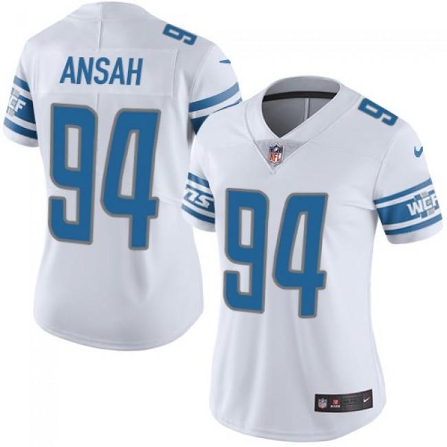 Women's Lions #94 Ziggy Ansah White Stitched NFL Vapor Untouchable Limited Jersey