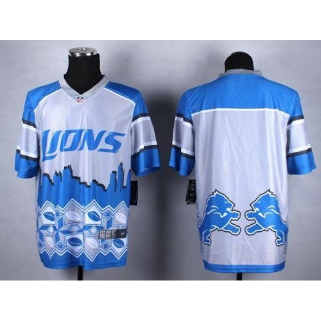 Nike Lions Blank Blue Men's Stitched NFL Elite Noble Fashion Jersey