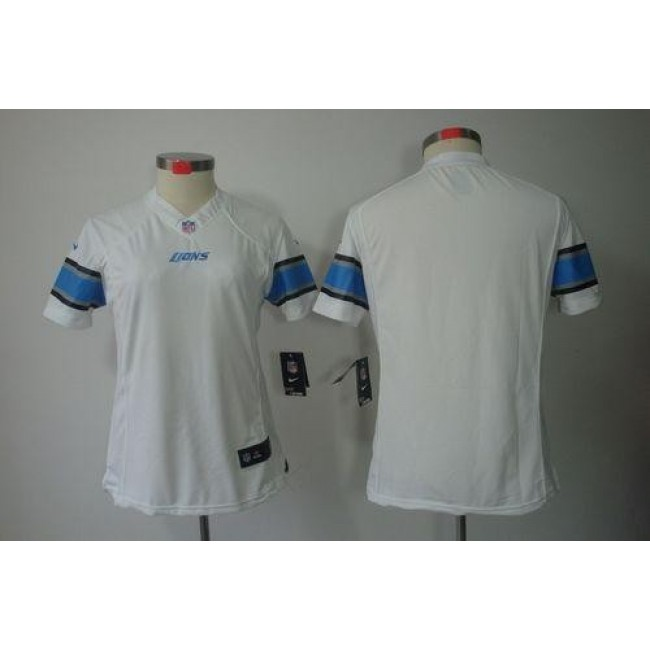 Women's Lions Blank White Stitched NFL Limited Jersey
