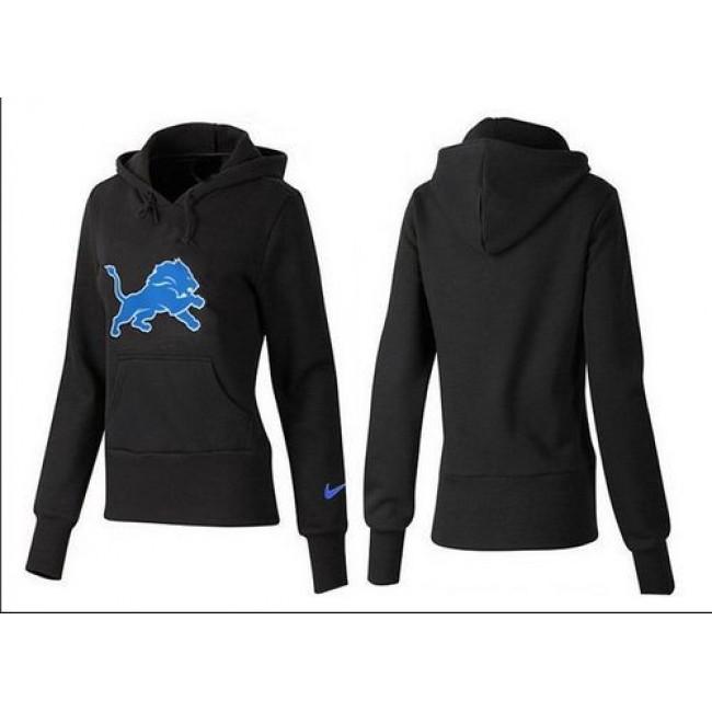 Women's Detroit Lions Logo Pullover Hoodie Black Jersey