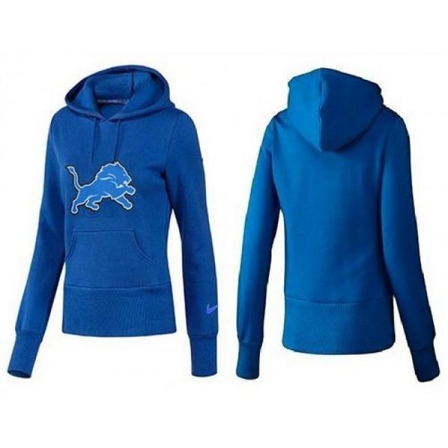 Women's Detroit Lions Logo Pullover Hoodie Blue Jersey