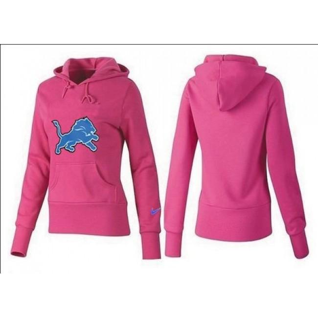 Women's Detroit Lions Logo Pullover Hoodie Pink Jersey