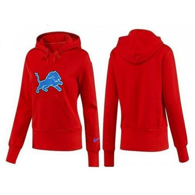 Women's Detroit Lions Logo Pullover Hoodie Red Jersey