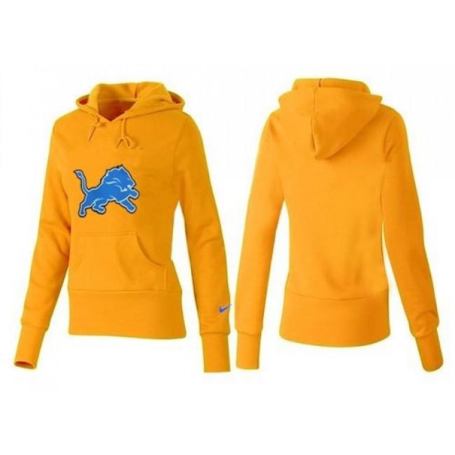 Women's Detroit Lions Logo Pullover Hoodie Yellow Jersey