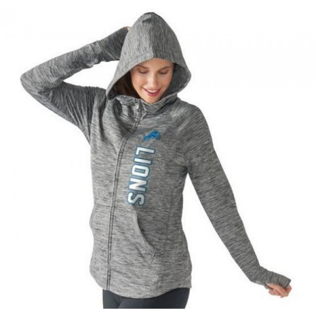 Women's NFL Detroit Lions G-III 4Her by Carl Banks Recovery Full-Zip Hoodie Heathered Gray Jersey