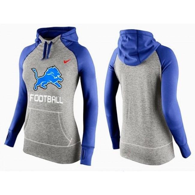 Women's Detroit Lions Hoodie Grey Blue-1 Jersey