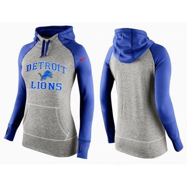 Women's Detroit Lions Hoodie Grey Blue-2 Jersey