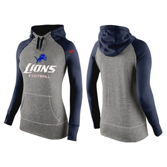 Women's Detroit Lions Hoodie Grey Dark Blue Jersey