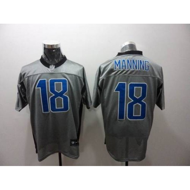 Colts #18 Peyton Manning Grey Shadow Stitched NFL Jersey