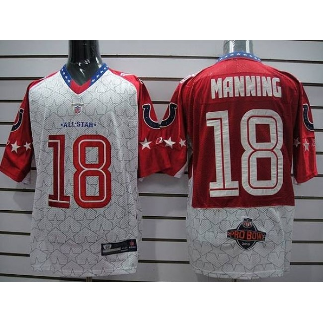 Colts #18 Peyton Manning Red 2010 Pro Bowl Stitched NFL Jersey